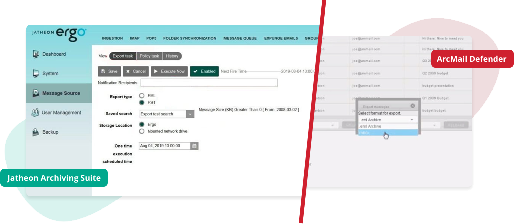 Jatheon vs ArcMail Data Export