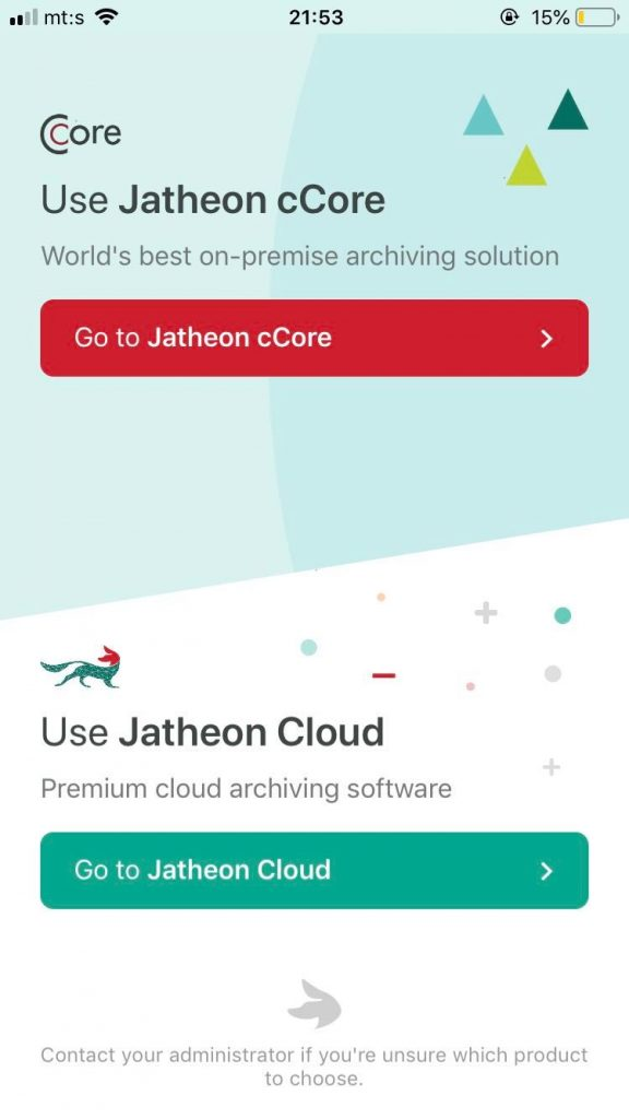 Jatheon Archive App homescreen
