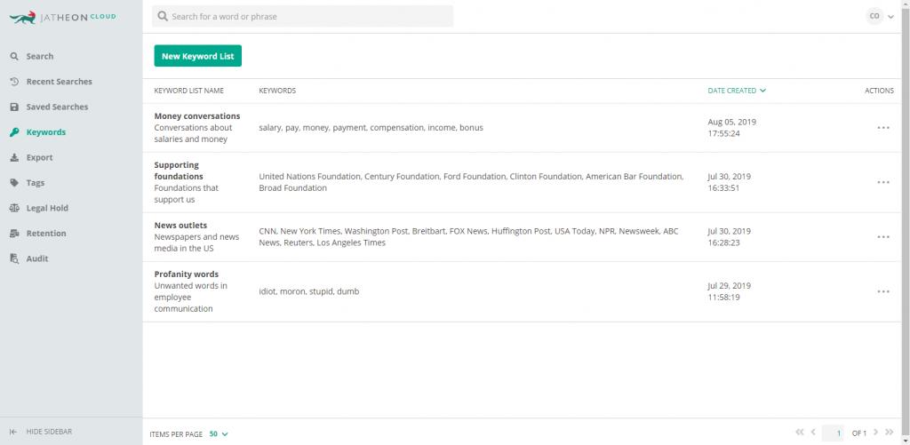 Keyword Lists screen