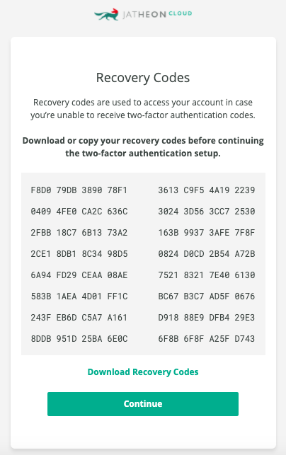 Jatheon Cloud 2FA Backup codes