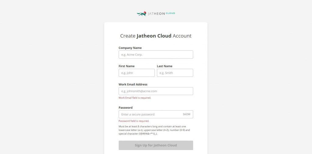 Jatheon Cloud - Registration Form