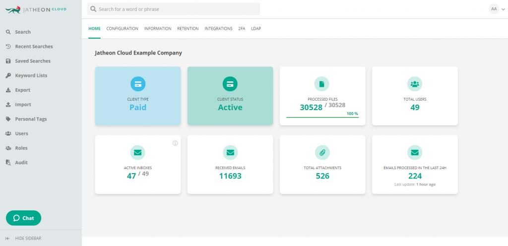 Jatheon Cloud - Account Admin Company Settings 1