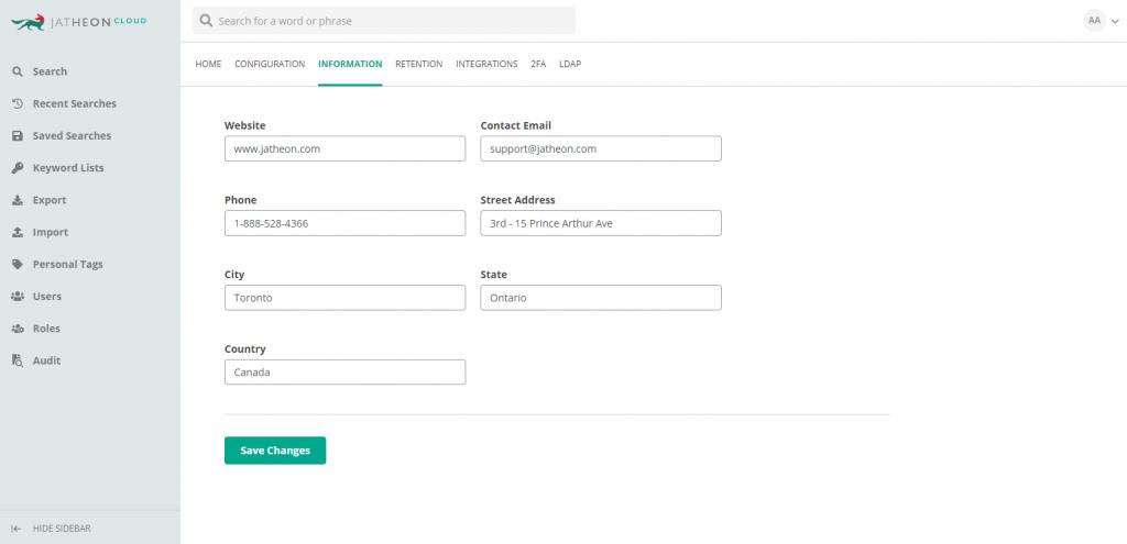 Jatheon Cloud - Account Admin Company Settings 2