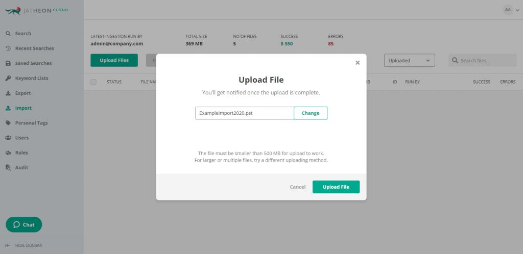 Jatheon Cloud - Import Single File 2