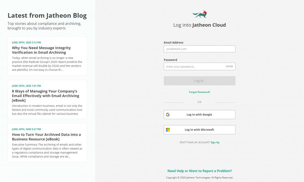 Jatheon Cloud - New login screen