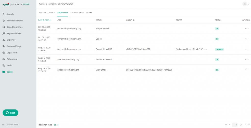 Jatheon Cloud - Case Details Audit Log