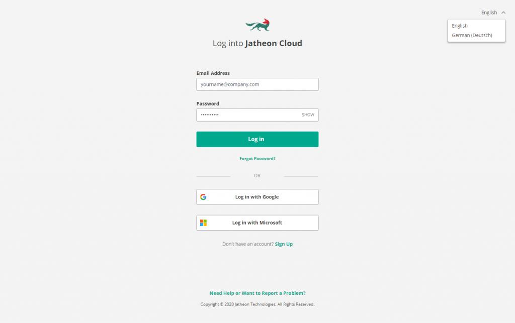 Jatheon Cloud 01 - Language login screen
