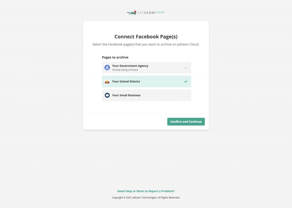 Jatheon Cloud Admin Client Social Networks Choose Pages