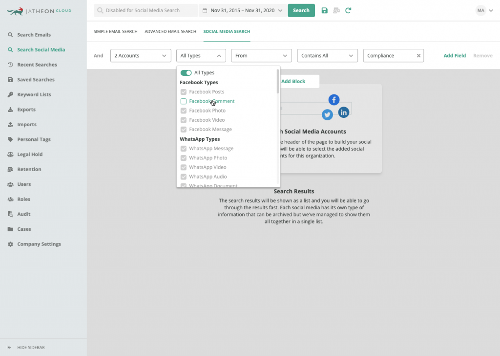 Jatheon Cloud Social Media Search Empty Content Type