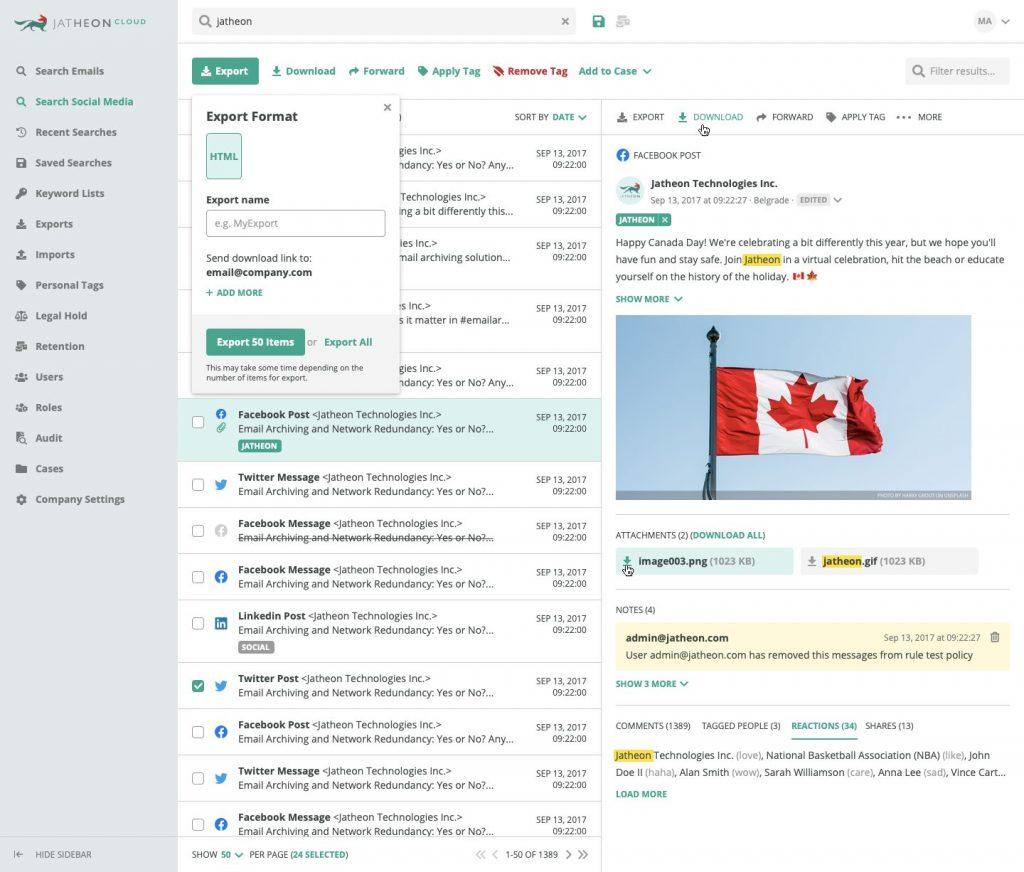 Social Media Search Results Facebook Post Export